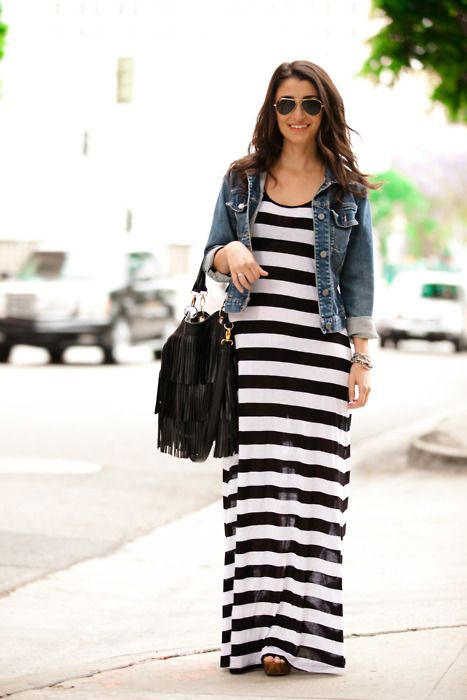 17 Best images about Maxi dress and jean jacket/vest on Pinterest ...