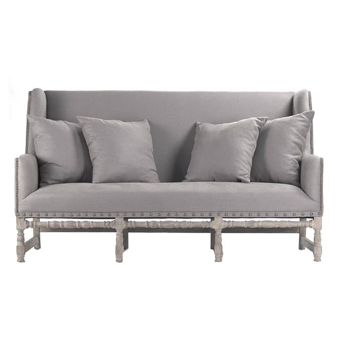 Zentique Aubert Bench Limed Grey Oak And Grey Linen