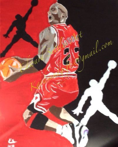 """""""Air"""" Michael Jordan is on his way to a reverse slam dunk. Sporting his classic Jordan XI Concord shoe. Michael seemed unstoppable. This 16x20 acrylic painting on wrapped canvas gives the owner that s"""