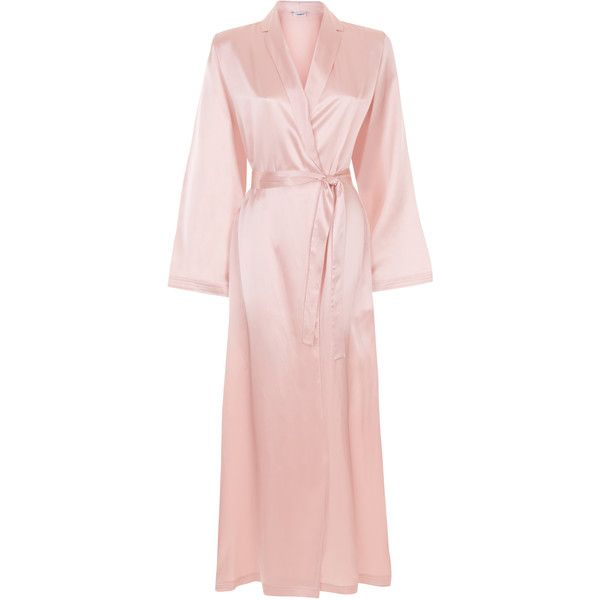 La Perla Silk Silk Satin Long Robe ($464) ❤ liked on Polyvore featuring intimates, robes, pink, pink bathrobe, long bathrobe, silk bathrobe, long dressing gowns and bath robes