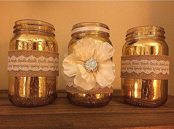 Mercury glass mason jar set
