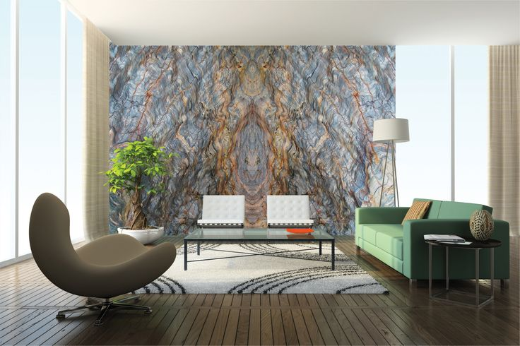 Living room bookmatched fusion feature wall stone design for Feature wall living room designs