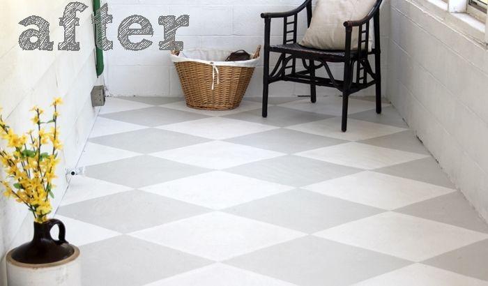 Painted Concrete Floor - checkerboard.  Love the color scheme!