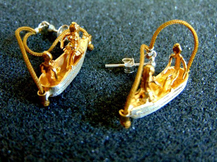 Unique Drop Earrings,Silver 950 Boat Earrings,Gold Plated Silver Earrings,Funny Unusual Silver Jewelry,Womens Funny Earrings,Funny Gift Idea by ArchipelagosBreeze on Etsy