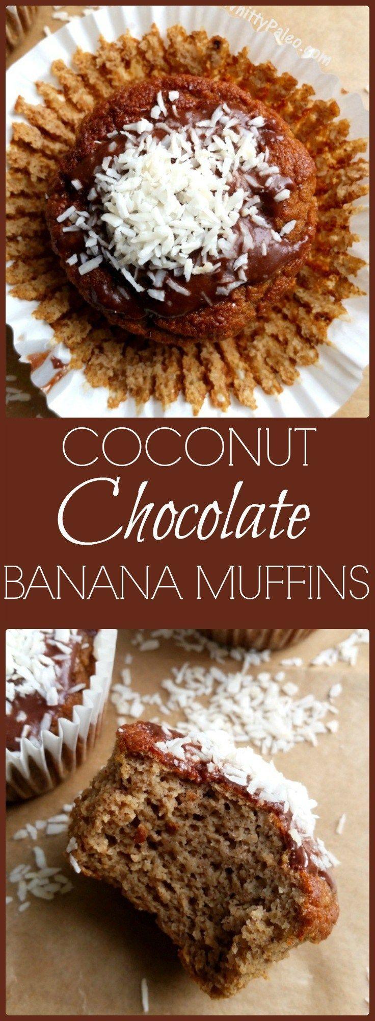 Paleo & Gluten Free Coconut Cream Chocolate Banana Muffins via /whittypaleo/
