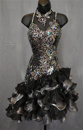 Sexy & Fun Ruffle Skirt Sequin Latin Dress