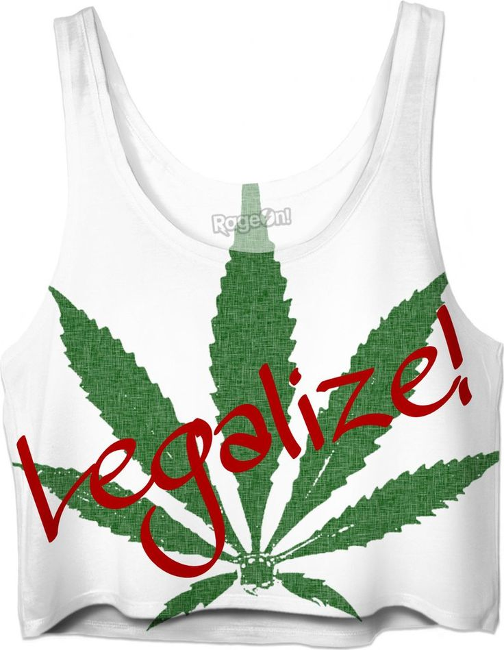 Legalize! Large ganja, weed, pot leaf, cannabis crop top design  - Item printed by RageOn.com, also available at casemiroarts.com #style #design #cool #sexy #swag #fashion #accessories #clothing