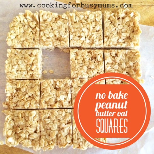 No Bake Peanute Butter Oat Squares