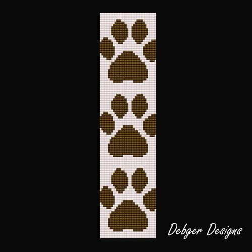 Bead Pattern LoomBracelet CuffPaw Prints by LoomTomb on Etsy