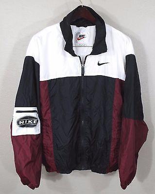 Vintage Nike Windbreaker Jacke Large Rot Weiß Schwarz 90er Jahre Retro Og Hip Hop Track I