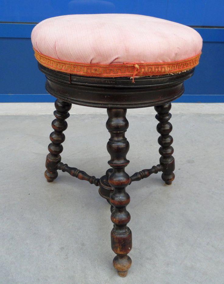 Sgabello da pianoforte gamba tornita stile Luigi XIII '800 in faggio chinato