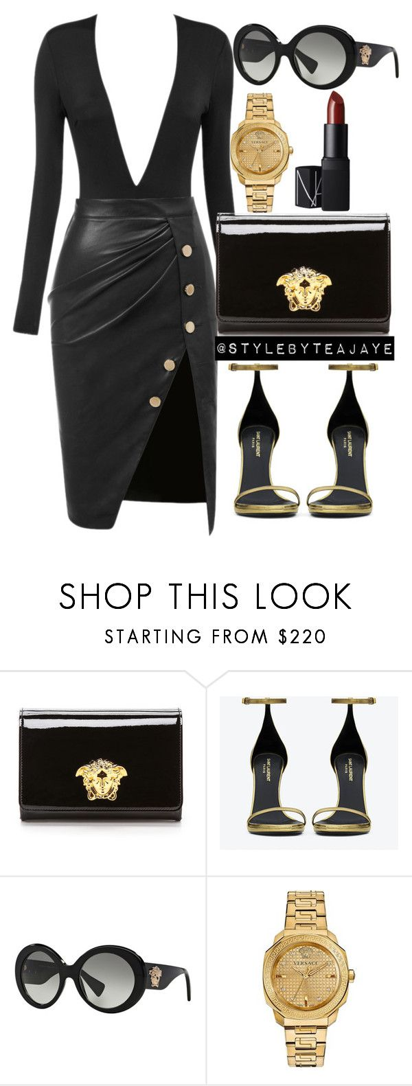 """""""Untitled #1881"""" by stylebyteajaye ❤ liked on Polyvore featuring Versace, Yves Saint Laurent and NARS Cosmetics"""