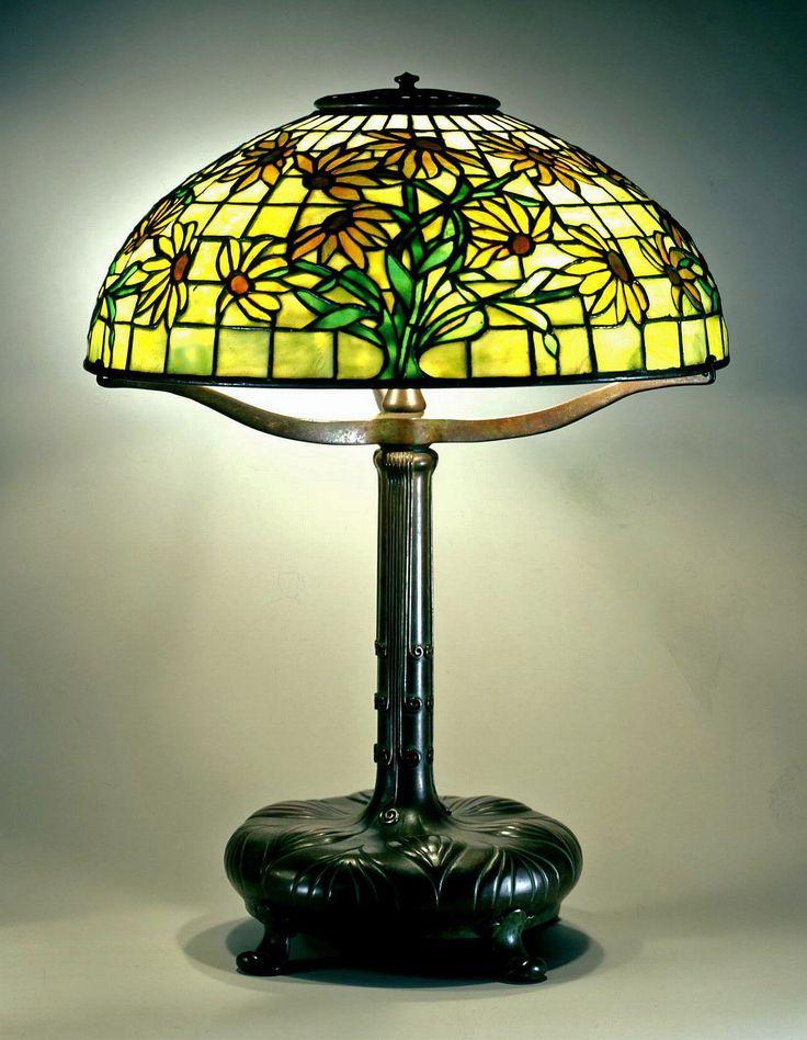 Reading Lamp C Leaf Design Cushion Base Leaded Glass And Bronze