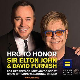 The Human Rights Campaign to Honor Sir Elton John and David Furnish