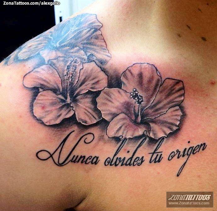 Tatuaje Flor Hawaiana Hombro Sfb