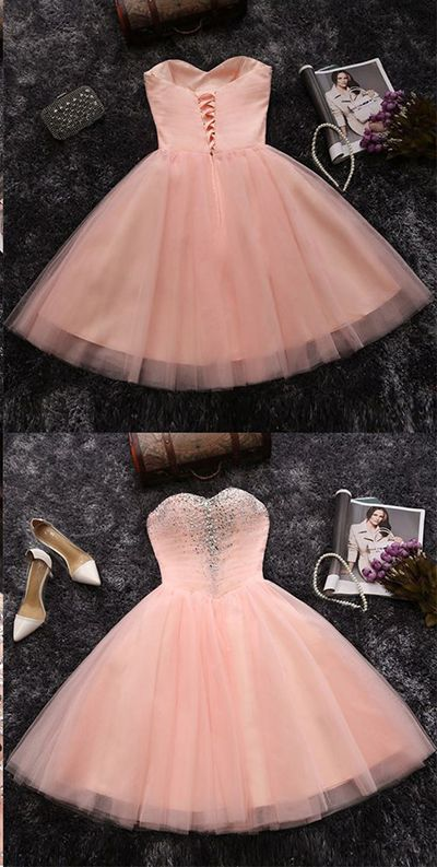 Strapless Charming Homecoming Dresses,Cute Homecoming Dresses,Cheap Tulle Homecoming Gown,Soft Pink Juniors Homecoming Dresses,Short Prom Dress,H007