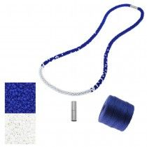Refill - Long Beaded Kumihimo Necklace - Blue and White - Exclusive Beadaholique Jewelry Kit