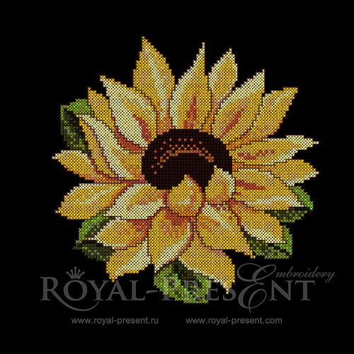 Cross-stitch Machine Embroidery Design - Sunflower | Flora- Royal Present…