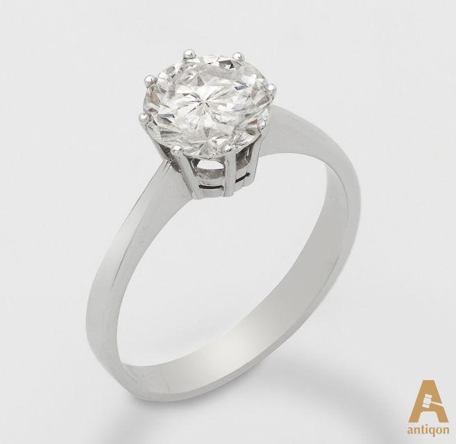Classic diamond ring. White gold 750, 2.00 carats (H / PI)