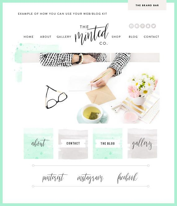 Watercolor Squarespace Template Logo Branding Kit Blog Kit