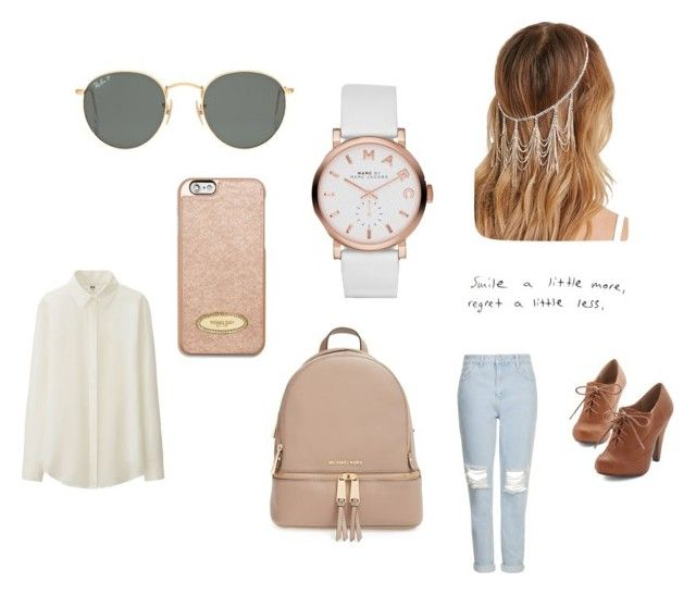 """""""Smile a little more, regret a little less."""" by stephaniejs-1 on Polyvore featuring Uniqlo, Topshop, MICHAEL Michael Kors, Ray-Ban, Forever 21, Marc by Marc Jacobs and Prada"""