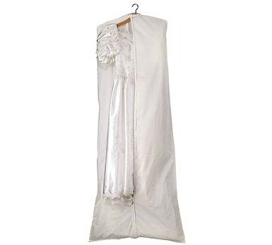 Here comes the bride! Fantastic PEVA garment bags with a zip close front and hole on the top to use with a hanger.