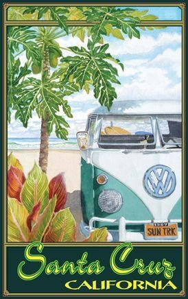 vintage travel poster Santa Cruz California USA via Brenda Sierra