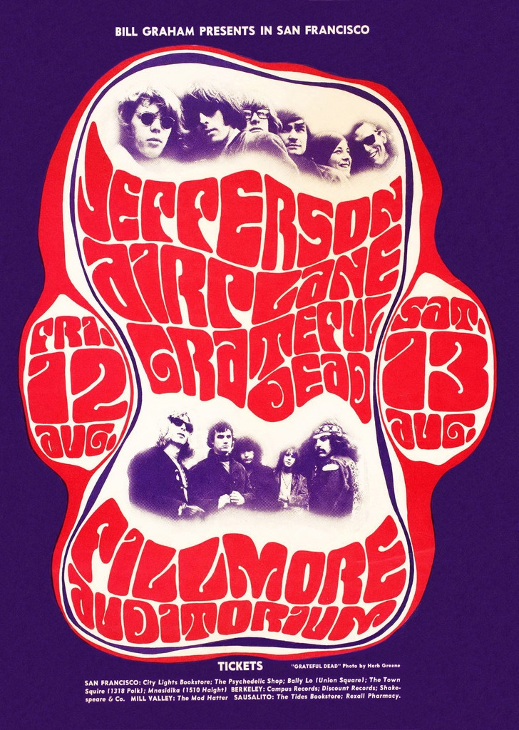 August 12 & 13, 1966 Concert Poster: Jefferson Airplane & Grateful Dead at Fillmore