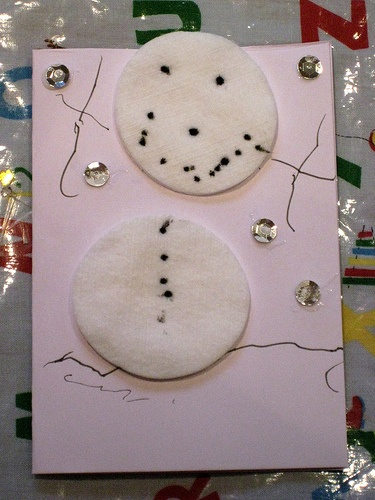 Simple child-made Christmas card.  MAK note: How sweet. Great potential for individual creativity.