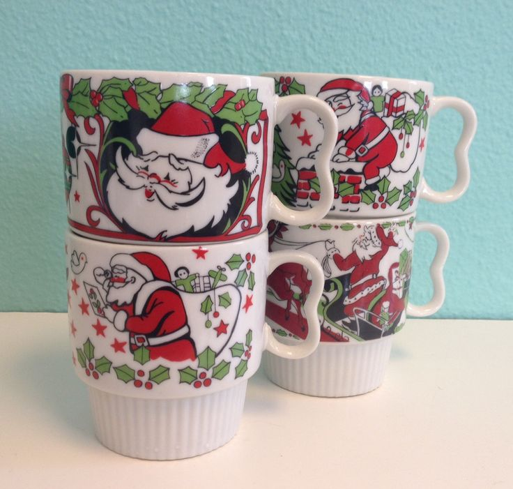 Good Vintage Christmas Stacking Mugs Coffee Tea Hot Chocolate Cups Stackable Made in Japan Novelty