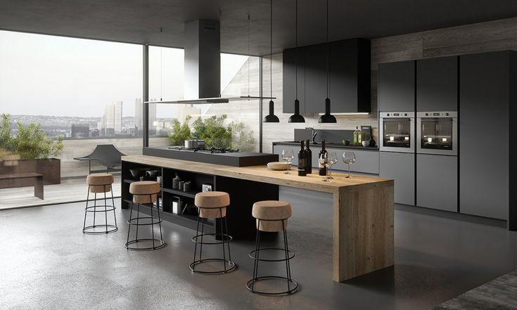 Cuisine design avec îlot gris anthracite et bois sans poignées
