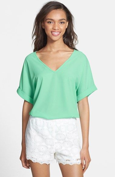 Lush Cuff Sleeve Woven Tee (Juniors) available at #Nordstrom