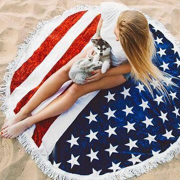 150cm Round Tassel Beach Yoga Towel Flag Printing Bed Sheet Tapestry