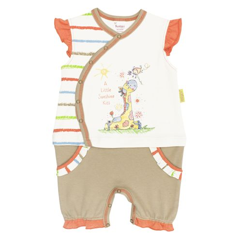 Cute printed girls crawler with poppers for easy changing.