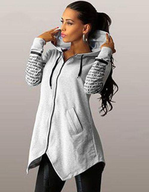 Good Deal $9.79, Buy 2016 autumn winter women Hoodies sweatshirts letter print pullover harajuku plus size zipper irregular top sportswear