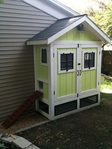 build a cute little chicken coop alongside the house