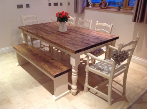 Shabby-Chic-Rustic-Farmhouse-Solid-8-Seater-Dining-Table-Bench-And-6-Chairs