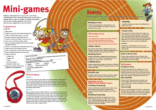 Holding a 'mini-games day' is a great way to encourage understanding of the Glasgow 2014 Commonwealth Games. Free article by R.I.C. Publications.