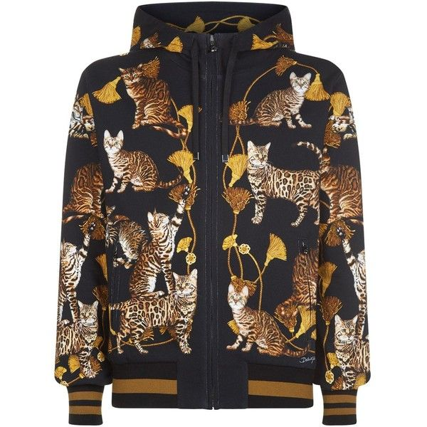 Dolce & Gabbana Cat Print Hoodie (1,050 CAD) ❤ liked on Polyvore featuring men's fashion, men's clothing, men's hoodies, mens hoodies, mens zip up hoodies and mens sweatshirts and hoodies