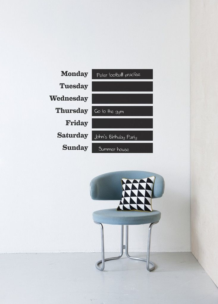 days of the week on the wallFermliving, Ferm Living, Wall, Living Wall, Chalkboards Painting, Wall Decals, Blackboard Painting, Wall Stickers, Weeks