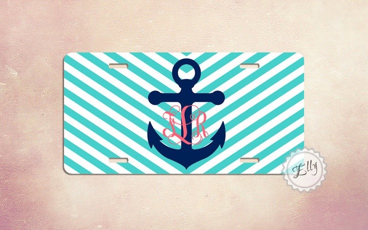 Anchor preppy nautical stripes License Plate - monogram car tag. $21.99, via Etsy.