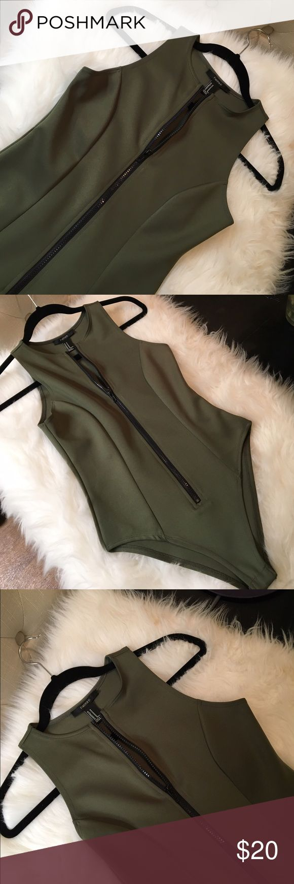 💚Chic army green scuba bodysuit💚 Super cute army green bodysuit with a black zipper down the front! Perfect condition only work once✨ Forever 21 Other