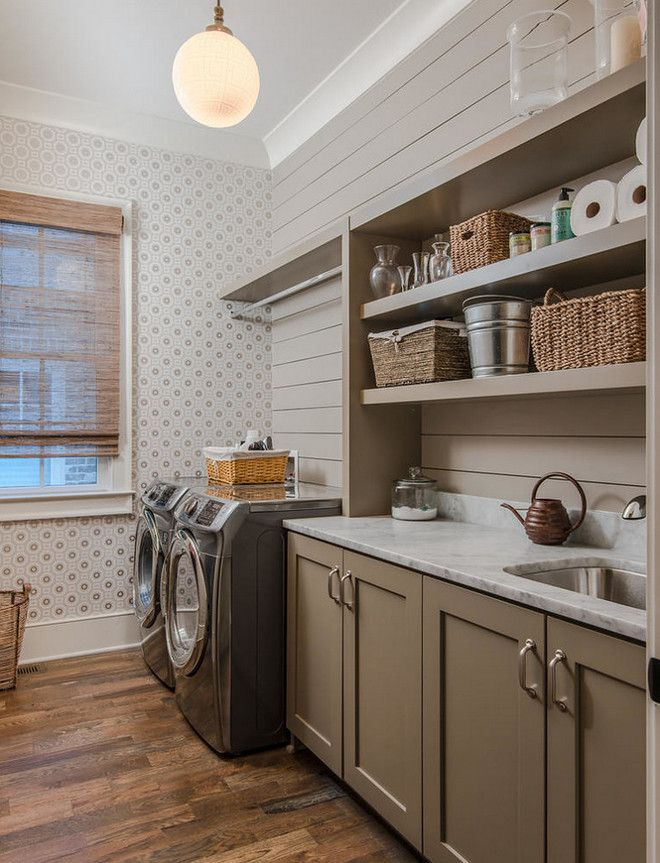 shiplap more affordable alternative to tile backsplash in the laundry room also some open shelving - Laundry Room Design Ideas