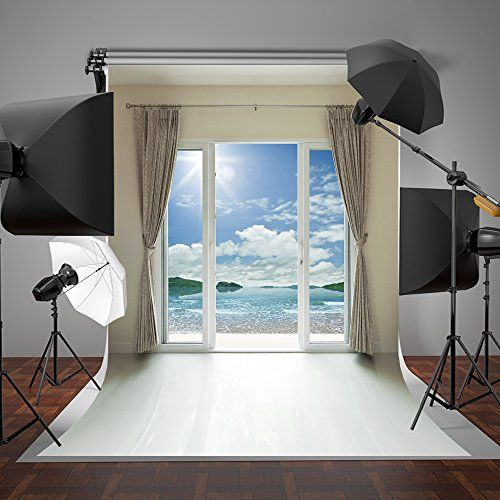 SUSU Indoor Bedroom Photography Backdrops Glass Window White Curtain Photo  Background Beach Backdrop Without Wrinkles
