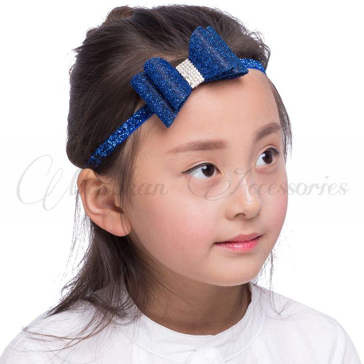 Baru lahir Mewah Bunga Busur Cocok Glitter Headband Ornamen Buatan Tangan Keras PVC Busur Bando Untuk Anak Perempuan Aksesoris Rambut
