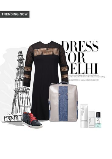 'Dress for Delhi' by me on Limeroad featuring Black Dresses with Blue Backpacks