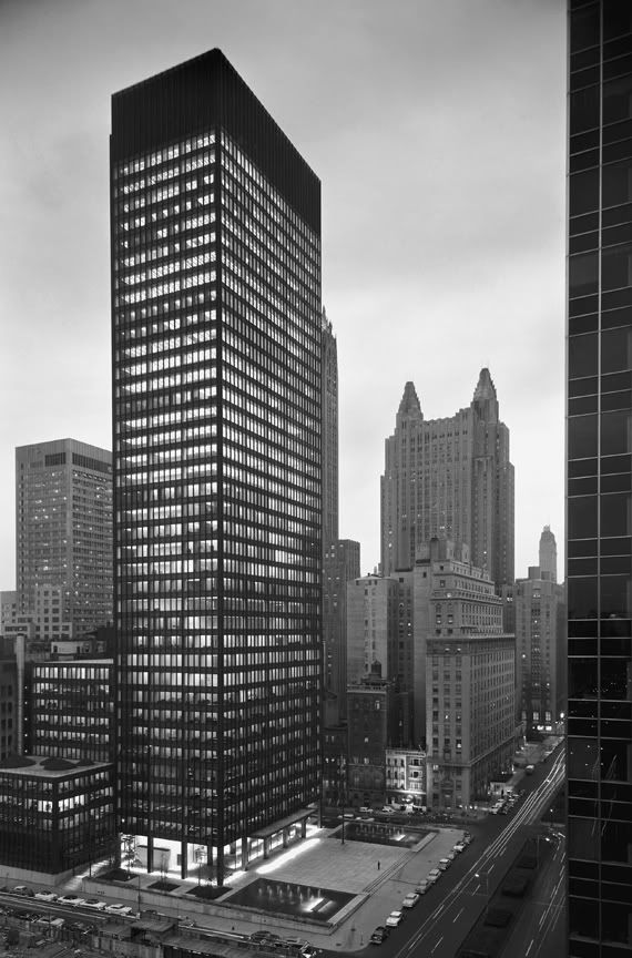 """Architecture starts when you carefully put two bricks together. There it begins."" • LUDWIG MIES VAN DER ROHE • 1958 = Seagram Building in New York"