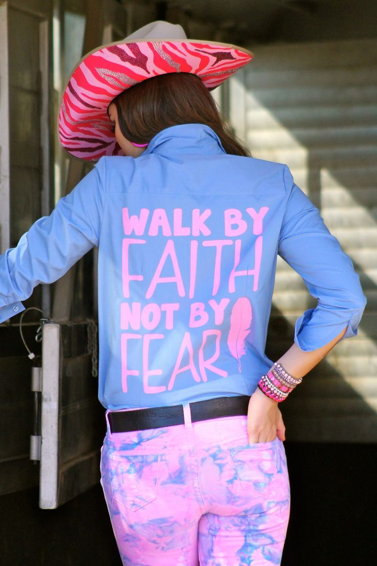 Baby Blue Walk By Faith Rodeo Shirt - Ranch Dress'n