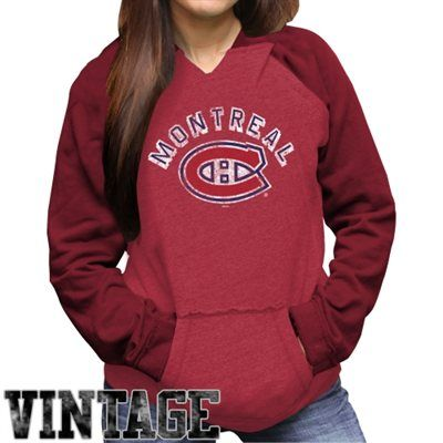 Original Retro Brand Montreal Canadiens Ladies Relaxed Pullover Hoodie - Red