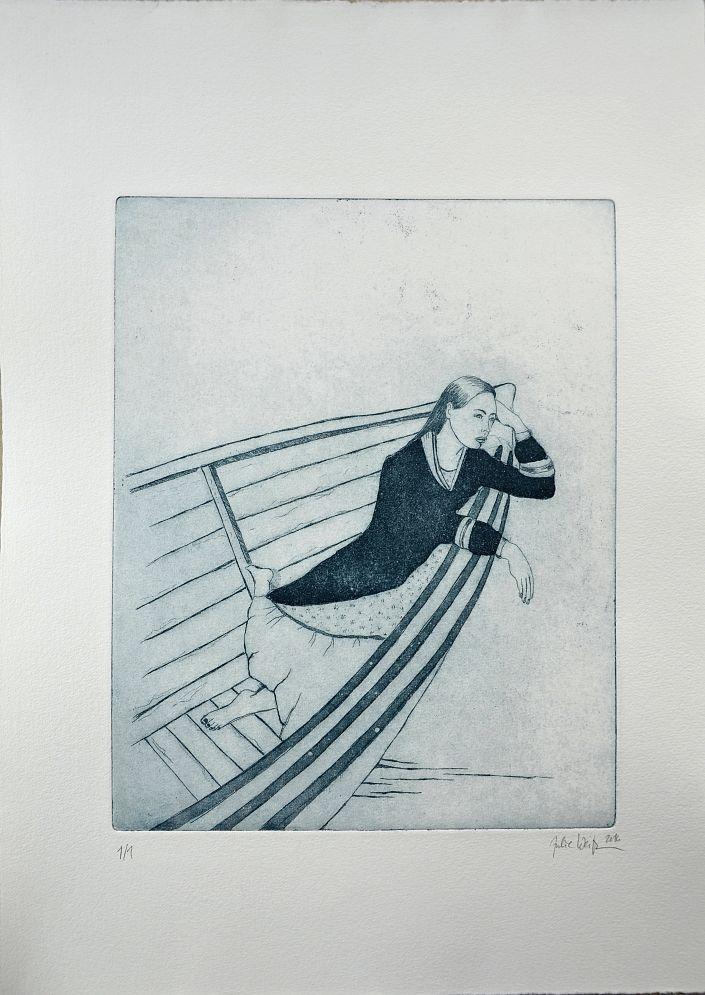 Julie  Weißbach: Could she be a...?, blauschwarz (1/1). Aquatintaradierung auf Büttenpapier #Ruderboot #rudern #Emanzipation #Dame #julieweißbach #startyourart #Radierung #etching #Aquatinta www.startyourart.de